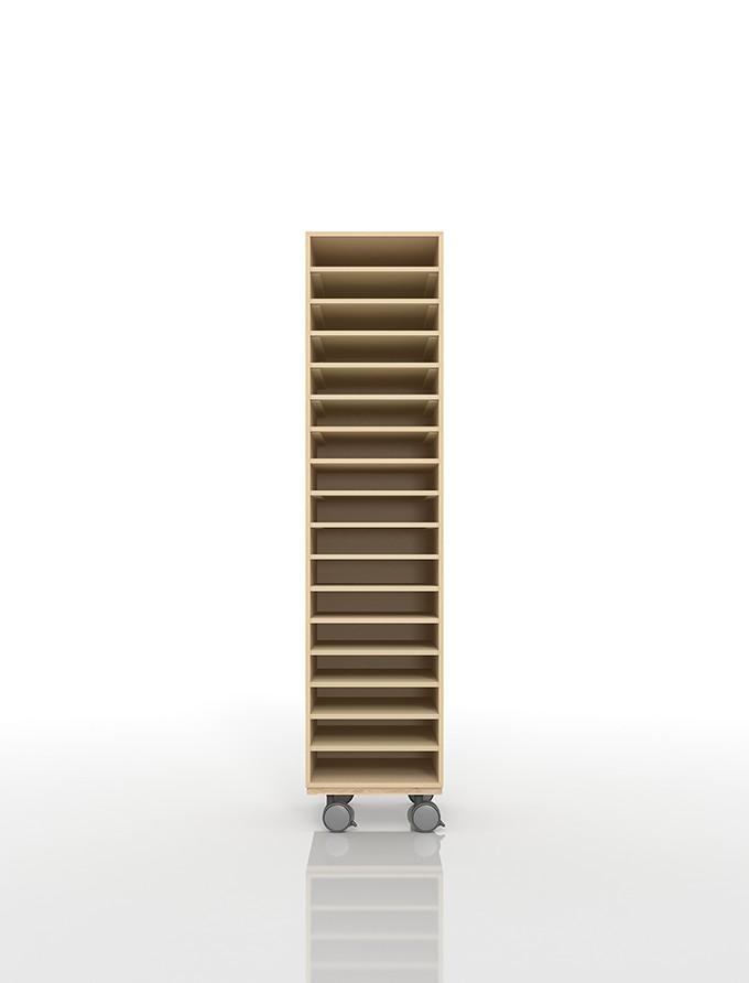 A4書類棚 キャスターベースセット 17段 木製 大容量(PNO-A4-17×1+BLC-12-BX×1) /マルゲリータ