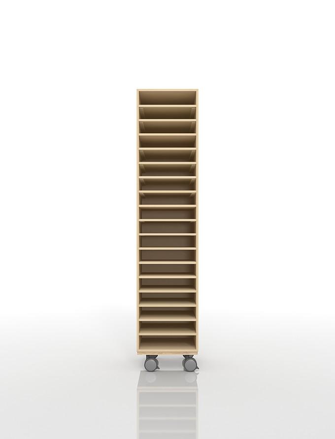 A4書類棚 キャスターベースセット 18段 木製 大容量(PNO-A4-18×1+BLC-12-BX×1) /マルゲリータ