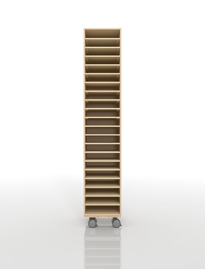 A4書類棚 キャスターベースセット 21段 木製 大容量(PNO-A4-21×1+BLC-12-BX×1) /マルゲリータ