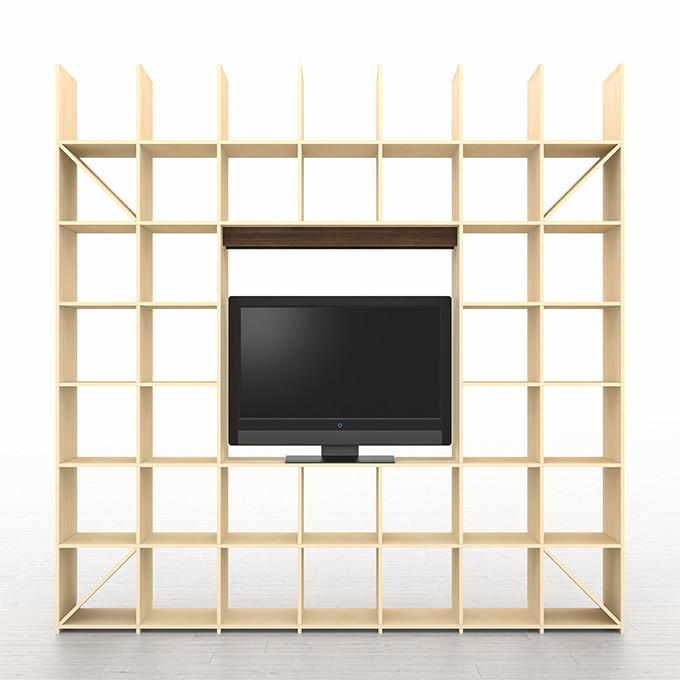 開口部のある本棚 奥行350 縦7コマ×横7コマ-233(送料無料 壁面収納 テレビ台 テレビボード TV台 TVボード リビング収納 リビングボード 壁一面本棚)SLF-AR-2400-2400-ROOM233 /マルゲリータ