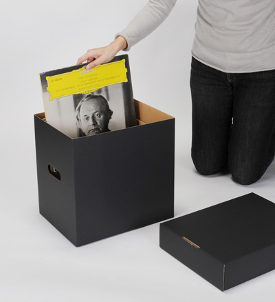 LP Record Cardboard Ball Box With Lid Black 5 Box Set ( LP For 12  ...