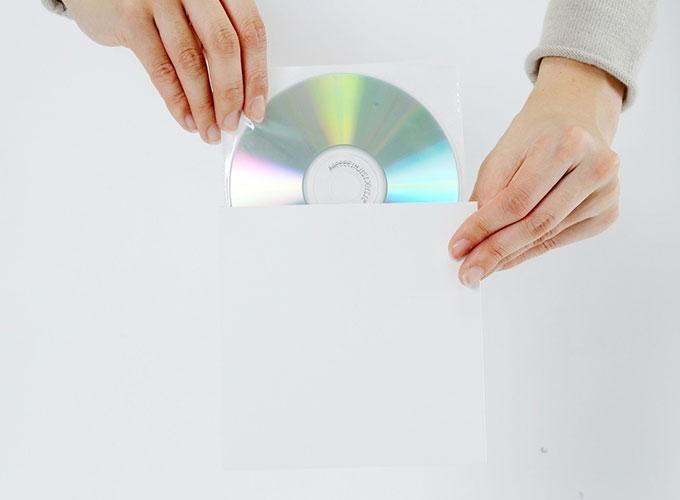 CD用 厚紙ジャケット 白+ CD用 不織布 インナージャケット 100組セット/CD-026 /マルゲリータ