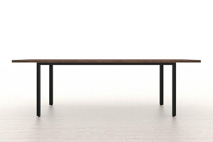スプルス積層パネルを用いたテーブル スチール脚(ウォールナット調)W2400×D900(ダイニング テーブル ワークテーブル)WN-2400-900 /マルゲリータ