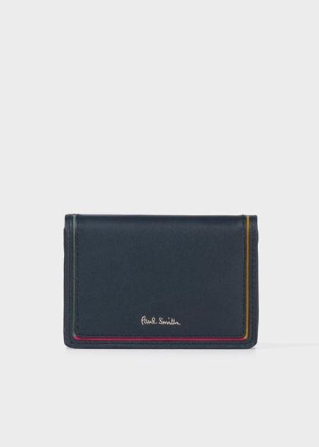 ポールスミス 折財布 スワールカラーライン ミニ財布 ネイビー Paul Smith