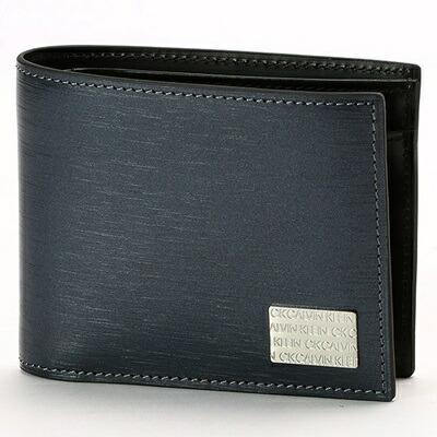 カルバンクライン 折財布 ヘアラインII 2つ折り ネイビー CalvinKlein