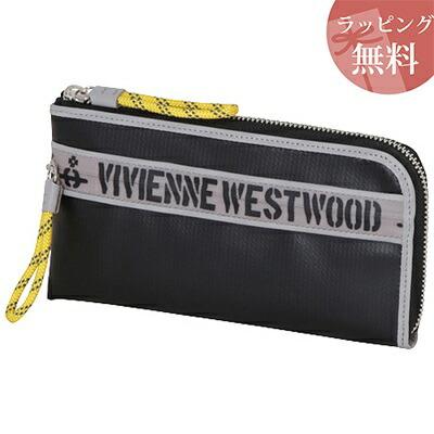 ヴィヴィアンウエストウッド 財布 長財布 L字ファスナー ファスナープリント ブラック Vivienne Westwood