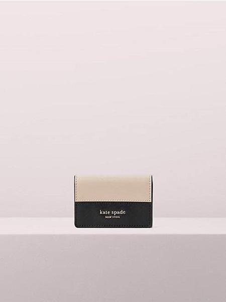 ケイトスペード 折財布 スペンサー ミニ トライフォールド ウォレット WARM BEIGE/BLACK kate spade