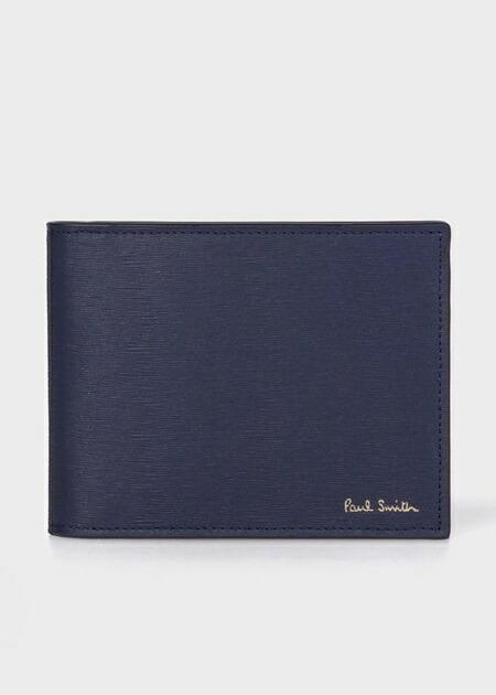 ポールスミス 折財布 ストローグレイン クリップウォレット ブルー Paul Smith