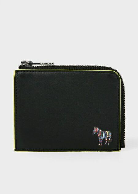 ポールスミス 折財布 ゼブラパッチ ラウンドジップ 2つ折り財布 ブラック Paul Smith