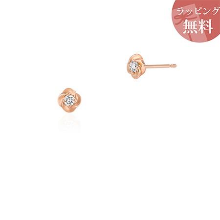 ヨンドシー ピアス ダイヤモンド フラワーモチーフ K10ピンクゴールド 4℃