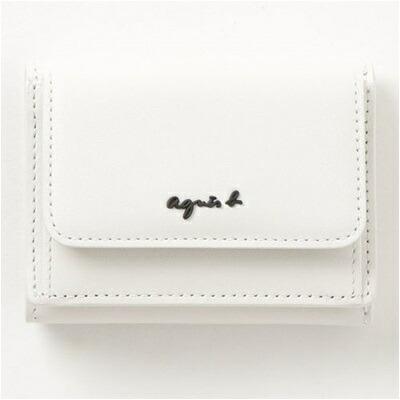 アニエスべー 財布 折財布 三つ折り ミニ財布 ホワイト agnes b