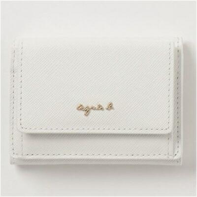 アニエスべー 財布 折財布 三つ折り ホワイト agnes b