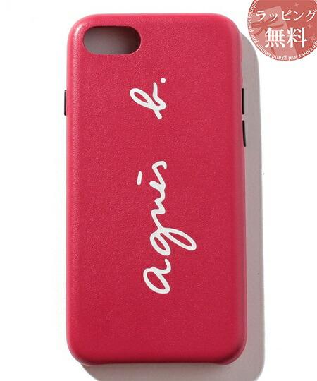 アニエスべー スマホケース レディース ロゴ iPhoneケース iPhone7・8 レッド agnes b