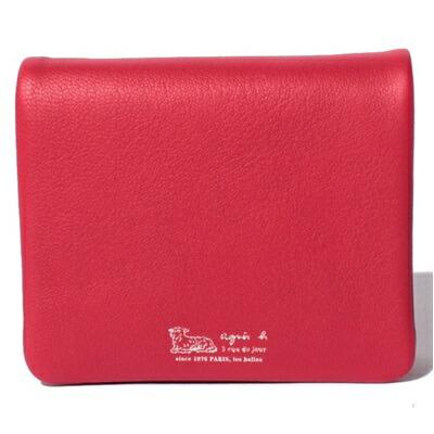 アニエスべー 財布 折財布 二つ折り レッド agnes b