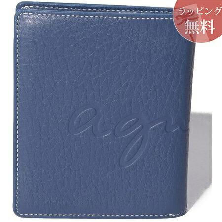 アニエスべー 財布 メンズ 折財布 ウォレット ブルー系 agnes b