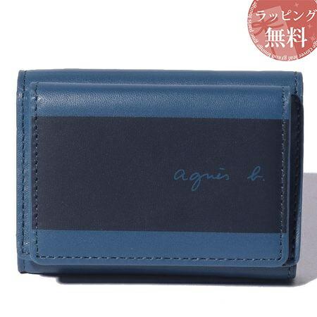 アニエスべー 財布 折財布 メンズ ミニウォレット ブルー agnes b