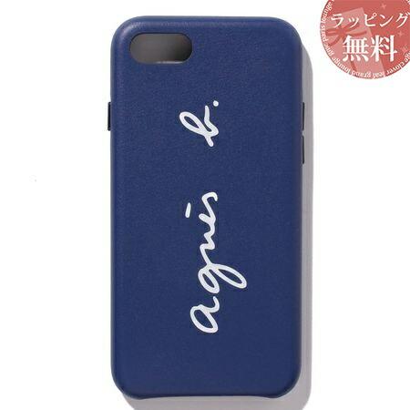 アニエスべー スマホケース レディース ロゴ iPhoneケース iPhone 7・8 ブルー agnes b