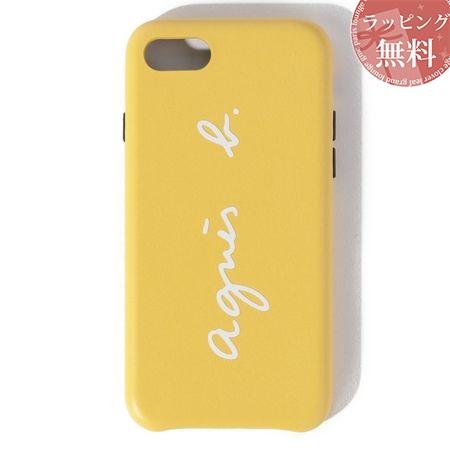 アニエスべー スマホケース レディース ロゴ iPhoneケース iPhone 7・8 イエロー系 agnes b