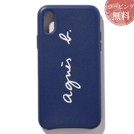 アニエスべー スマホケース レディース ロゴ iPhoneケース iPhone XS ブルー agnes b