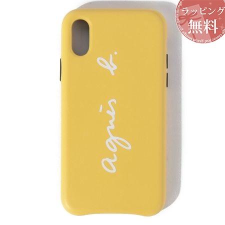 アニエスべー スマホケース レディース ロゴ iPhoneケース iPhone XS イエロー系 agnes b
