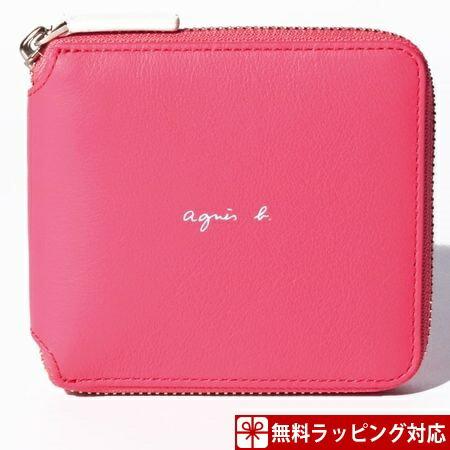 アニエスべー 財布 メンズ 折財布 ラウンドジップウォレット ピンク agnes b
