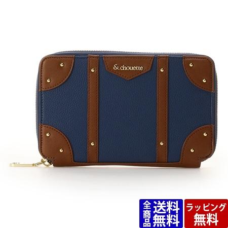 サマンサタバサ カードケース パスポートケース ベルトモチーフ トランクケース ネイビー &chouette