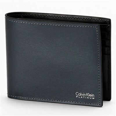 カルバンクライン レジューム 二つ折り財布 純札 ネイビー