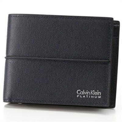 カルバンクライン スパイン 二つ折り財布 ネイビー