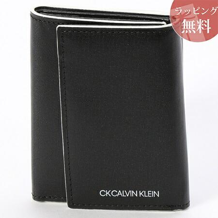 カルバンクライン 財布 メンズ 折財布 三つ折り 小銭入れBOX型 ミニカラー ブラック CalvinKlein