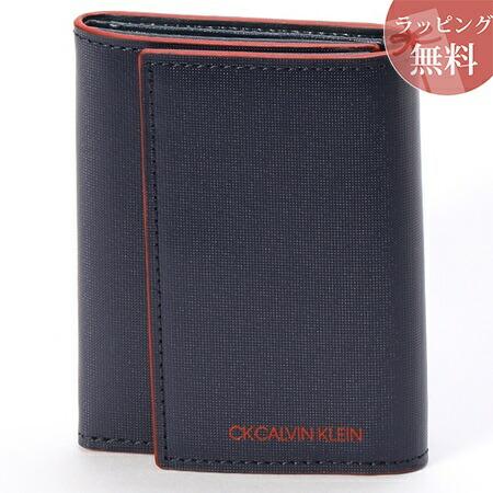 カルバンクライン 財布 メンズ 折財布 三つ折り 小銭入れBOX型 ミニカラー ネイビー CalvinKlein