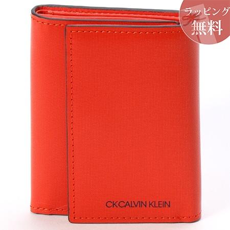 カルバンクライン 財布 メンズ 折財布 三つ折り 小銭入れBOX型 ミニカラー オレンジ CalvinKlein