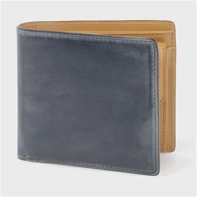 ポールスミス・コレクション PC蝋引きコードバン 二つ折り財布 ネイビー
