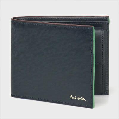 ポールスミス カラードエッジ 二つ折り財布 ネイビー
