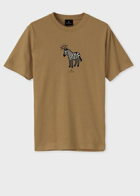 ポールスミス Tシャツ Angel ring Zebra プリントオーガニックコットン ブラウン XXL Paul Smith
