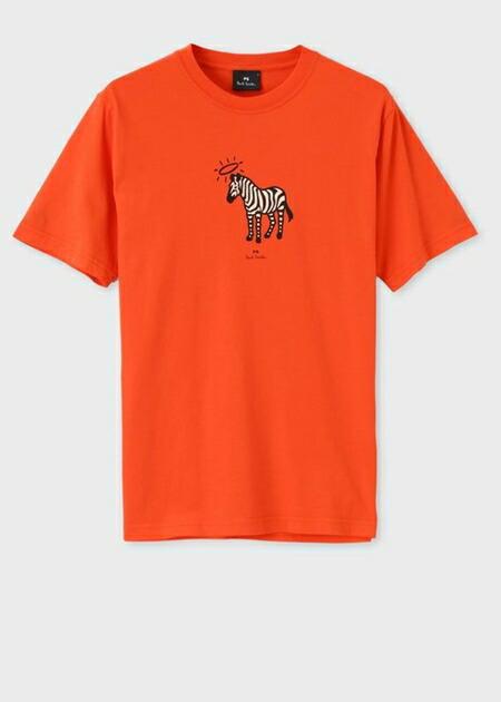 ポールスミス Tシャツ Angel ring Zebra プリントオーガニックコットン オレンジ XXL Paul Smith