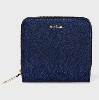 ポールスミス 折財布 メタリックグレイン 2つ折り ブルー Paul Smith