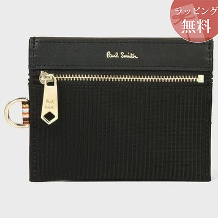ポールスミス 財布 折財布 トラベルストライプポケット ミニ財布 ブラック Paul Smith