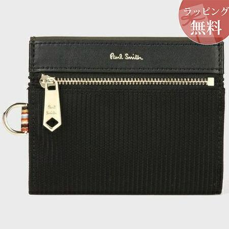 ポールスミス 財布 折財布 メンズ トラベルストライプポケット 2つ折り財布 ブラック Paul Smith