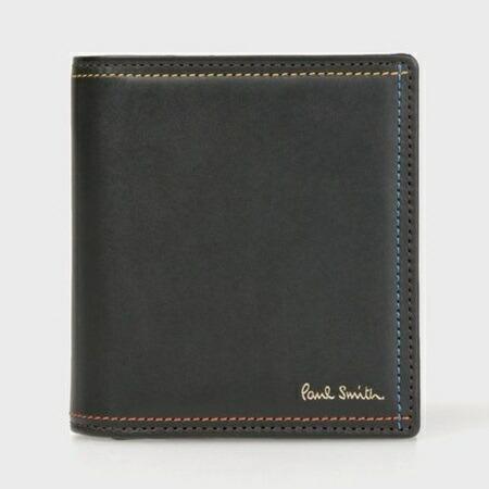 ポールスミス 財布 折財布 ミニ財布 メンズ ブライトストライプステッチ ブラック Paul Smith