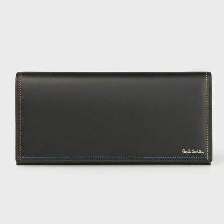 ポールスミス 財布 長財布 メンズ ブライトストライプステッチ ブラック Paul Smith