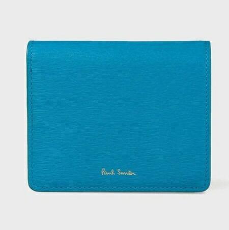 ポールスミス 財布 折財布 レディース ストローグレインレザー 2つ折り財布 ブルー Paul Smith
