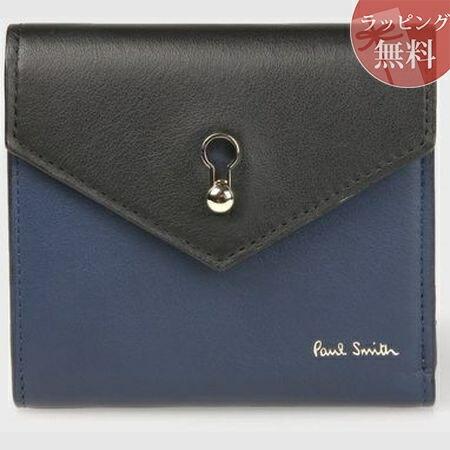 ポールスミス 財布 折財布 キーホールエンベロープ 2つ折り財布 ブラック Paul Smith
