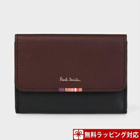 ポールスミス 財布 折財布 レディース クロスオーバーストライプタブ ミニ財布 ブラック Paul Smith