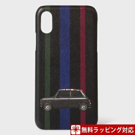 ポールスミス スマホケース Mini ストライプ プリント iPhoneケース iPhoneX、Xs ブラック Paul Smith