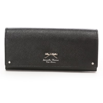 【あす楽】サマンサタバサプチチョイス シンプルリボンプレート(バイカラー) 長財布 ブラック ブランド