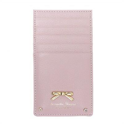 サマンサタバサプチチョイス シンプルリボンプレート シュリンクレザーバージョン カードケース ピンク