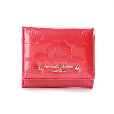 サマンサタバサプチチョイス ペココレクション エナメル型押し ミニ財布 レッド