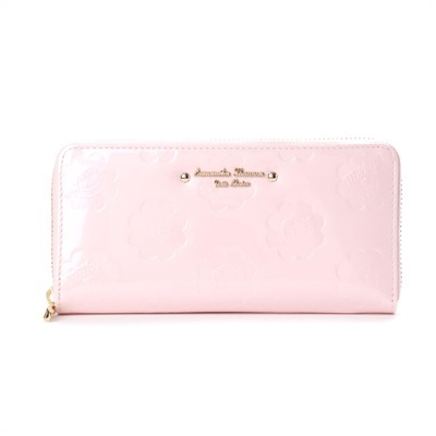 サマンサタバサプチチョイス ペココレクション エナメル型押し ラウンドジップ長財布 ピンク
