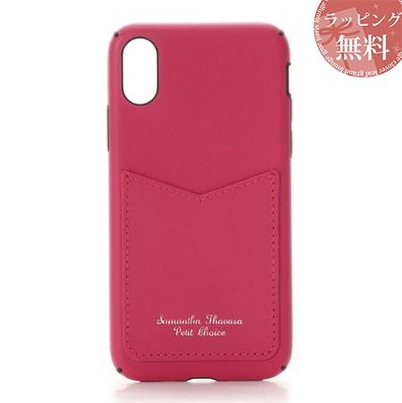 サマンサタバサ スマホケース カードポケット iphoneケース X-Xs フューシャピンク SamanthaThavasaPetitChoice