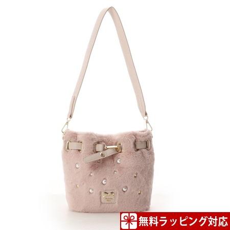 サマンサタバサ バッグ ショルダーバッグ ファービジューバケツ型バッグ ピンク Samantha Vega